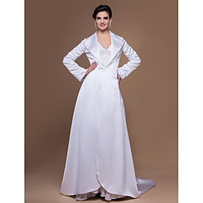 cheap Wedding Wraps-Long Sleeve Satin Party Evening Wedding  Wraps With Coats / Jackets