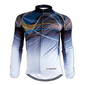 cheap Cycling Jerseys-Nuckily Men's Long Sleeve Cycling Jersey Winter Polyester Gray Stripes Bike Jersey Top Mountain Bike MTB Road Bike Cycling Thermal / Warm Breathable Sports Clothing Apparel