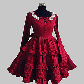 cheap Lolita Dresses-Princess Sweet Lolita Dress Women's Girls' Cotton Japanese Cosplay Costumes Red Solid Colored Bowknot Lace Long Sleeve Knee Length