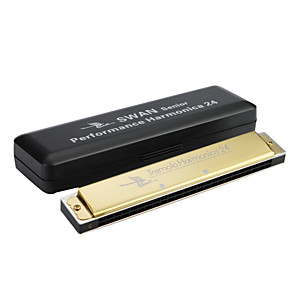 cheap TV Boxes-Swan - (SW24H-4) 24 Hole Senior Tremolo Harmonica  with Plastic Box (Laser-printing  Golden Finish)