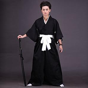 cheap Anime Costumes-Inspired by Ichigo Kurosaki Samurai Anime Cosplay Costumes Japanese Cosplay Suits Kimono Solid Colored Underwear Belt Kimono Coat For Men's Women's / Hakama pants / Hakama pants