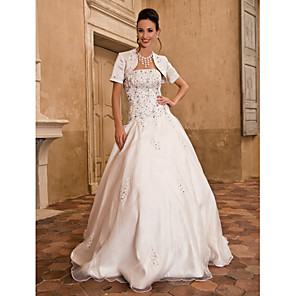 cheap Video Door Phone Systems-Ball Gown Wedding Dresses Strapless Floor Length Satin Short Sleeve Sparkle & Shine with Beading Appliques 2020 / Yes