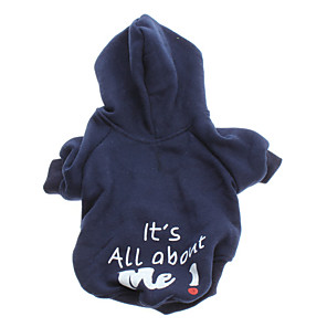 cheap Dog Clothes-Dog Hoodie Winter Dog Clothes Blue Costume Cotton Letter & Number Fashion XS S M L