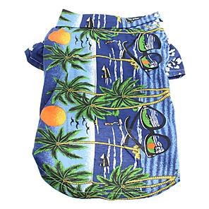 cheap Dog Clothes-Cat Dog Shirt / T-Shirt Dog Clothes Rainbow Yellow Blue Costume Cotton Floral Botanical Holiday Fashion XS S M L XL