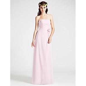 cheap Fishing Hooks-Sheath / Column Strapless Floor Length Chiffon Bridesmaid Dress with Split Front / Flower