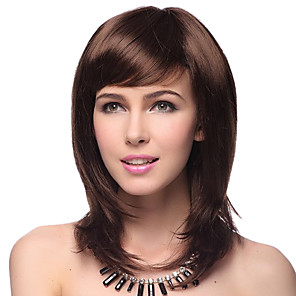 cheap Synthetic Trendy Wigs-Synthetic Wig Straight Straight Layered Haircut With Bangs Wig Medium Length Darkest Brown Brown Black Gold / Brown Synthetic Hair Women's Natural Hairline Red