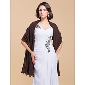 cheap Wedding Wraps-Elegant Chiffon With Lace Wedding/Evening Shawl (More Colors)