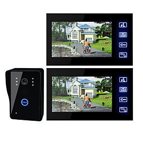 cheap Video Door Phone Systems-7 Inch TFT LCD Video Door  with Touch key (1 Camera with 2 Monitors)