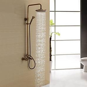 cheap Bathroom Sink Faucets-Shower Faucet - Antique Antique Brass Shower System Ceramic Valve Bath Shower Mixer Taps / Two Handles Three Holes