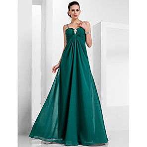 cheap LED Strip Lights-A-Line Empire Green Holiday Formal Evening Dress Spaghetti Strap Sleeveless Floor Length Chiffon with Crystals 2020