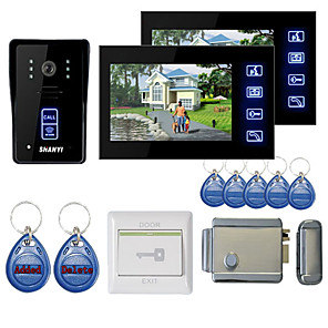 "cheap Video Door Phone Systems-7"" Color Hands Free Video Door Phone With 2 Monitors  Night Vision RFID Keyfobs Electronic Controlling Lock"