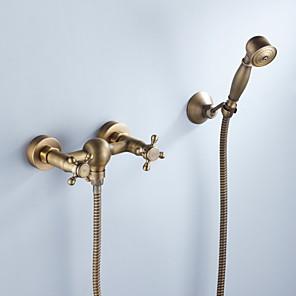 cheap Shower Faucets-Shower Faucet - Artistic / Retro Antique Brass Mount Inside Ceramic Valve Bath Shower Mixer Taps / Two Handles Three Holes
