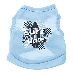 cheap Dog Clothes-Dog Shirt / T-Shirt Letter & Number Holiday Casual / Daily Dog Clothes Blue Costume Terylene XS S M L