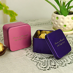 cheap Coaster Favors-Personalized Cuboid Favor Tin - Set of 12 (More Colors)