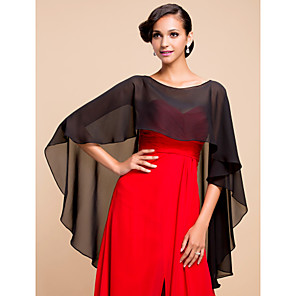 cheap Wedding Wraps-Sleeveless Capelets Chiffon Wedding / Party Evening Wedding  Wraps With Draping / Solid