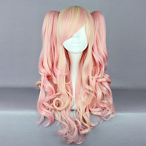 cheap Synthetic Trendy Wigs-Cosplay Wigs Women's 28 inch Heat Resistant Fiber Pink Anime