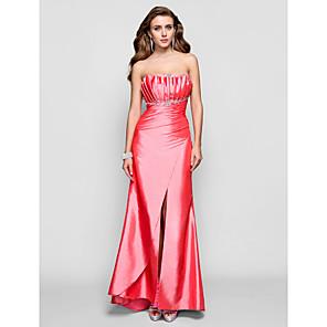 cheap Makeup Brush Sets-Sheath / Column Open Back Prom Formal Evening Dress Scalloped Neckline Sleeveless Floor Length Taffeta with Beading Draping Split Front 2020