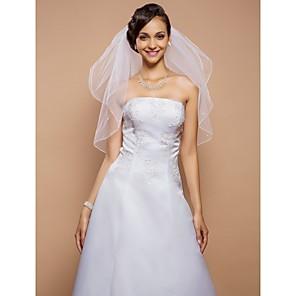cheap Wedding Veils-Two-tier Pencil Edge Wedding Veil Elbow Veils with Pearl 31.5 in (80cm) Tulle A-line, Ball Gown, Princess, Sheath / Column, Trumpet / Mermaid / Classic