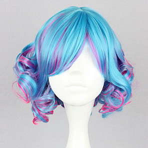 cheap Lolita Wigs-Cosplay Wigs Women's 14 inch Heat Resistant Fiber Navy Blue and Purple Anime / Punk Lolita Dress