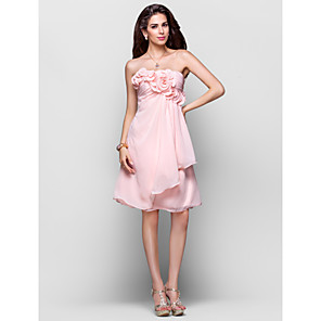 cheap Lolita Dresses-Back To School Ball Gown Open Back Homecoming Cocktail Party Dress Strapless Sleeveless Knee Length Chiffon with Ruched Draping Flower 2020 Hoco Dress