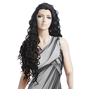 cheap Synthetic Lace Wigs-Synthetic Wig Natural Wave Spanish Curly Chic & Modern Curly Lace Front Wig Long Black Synthetic Hair 27 inch Women's Black