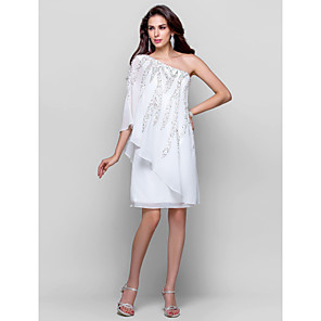 cheap Cocktail Dresses-Sheath / Column Sparkle White Wedding Guest Cocktail Party Dress One Shoulder Sleeveless Knee Length Chiffon with Sequin 2020