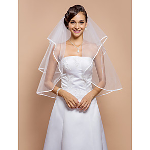 cheap Wedding Veils-Two-tier Ribbon Edge Wedding Veil Elbow Veils with Rhinestone 31.5 in (80cm) Tulle A-line, Ball Gown, Princess, Sheath / Column, Trumpet / Mermaid / Classic