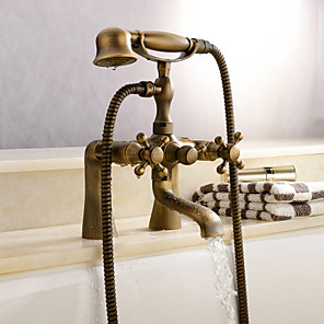 cheap Bathroom Sink Faucets-Shower Faucet / Bathtub Faucet - Antique Antique Brass Tub And Shower Ceramic Valve Bath Shower Mixer Taps