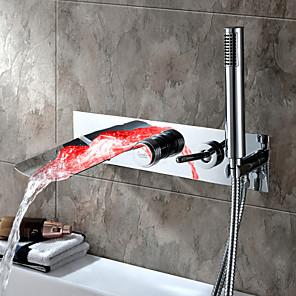 cheap Bathroom Sink Faucets-Bathtub Faucet-Waterfall Modern Chrome Bathtub and Shower Ceramic Valve Bathtub Shower Faucet / Single Lever Five Hole