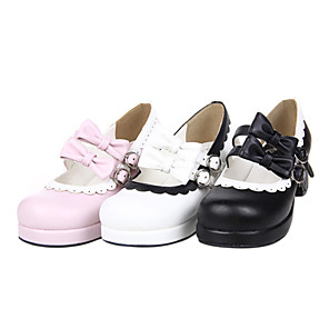 cheap Lolita Dresses-Women's Lolita Shoes Handmade High Heel Shoes Bowknot 4.5 cm Black White Pink PU Leather / Polyurethane Leather Halloween Costumes