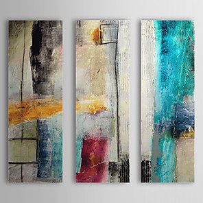 cheap Abstract Paintings-Hand-Painted Oil Painting Abstract Impulse With Stretched Frame Three Panels