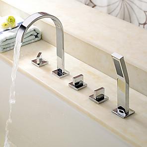 cheap Bathtub Faucets-Bathtub Faucet - Contemporary Chrome Roman Tub Ceramic Valve Bath Shower Mixer Taps / Brass / Three Handles Five Holes
