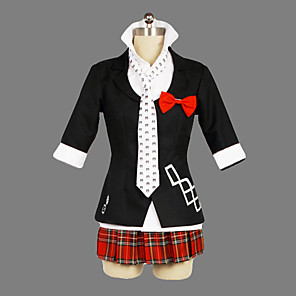 cheap Anime Costumes-Inspired by Dangan Ronpa Junko Enoshima Video Game Cosplay Costumes Cosplay Suits / School Uniforms Patchwork Short Sleeve Coat Shirt Skirt Costumes