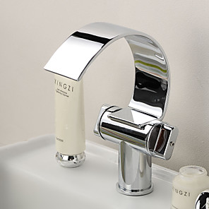 cheap Bathroom Sink Faucets-Bathroom Sink Faucet - Waterfall Chrome Centerset One Hole / Two Handles One HoleBath Taps