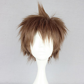 cheap Anime Cosplay Wigs-Cosplay Wigs Dangan Ronpa Cosplay Hajime Hinata Brown Anime / Video Games Cosplay Wigs 12 inch Heat Resistant Fiber Women's Halloween Wigs