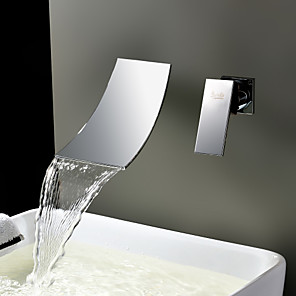 cheap Bathroom Sink Faucets-1279 Sprinkle® Sink Faucets - Contemporary Stainless Steel Wall Mount / Waterfall Two Holes