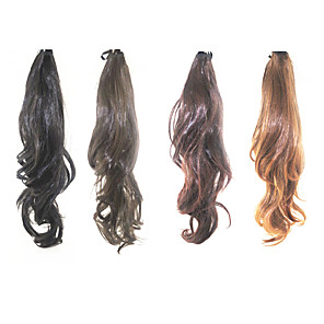 cheap Hair Pieces-Lace Clip Synthetic Curly Wavy Ponytail(Assorted 4 Colors)