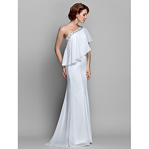 cheap CCTV Cameras-A-Line Mother of the Bride Dress Sparkle & Shine One Shoulder Floor Length Chiffon Sleeveless with Beading Ruffles 2020