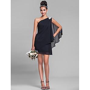 cheap Bridesmaid Dresses-Sheath / Column One Shoulder Short / Mini Chiffon Bridesmaid Dress with Crystals / Side Draping