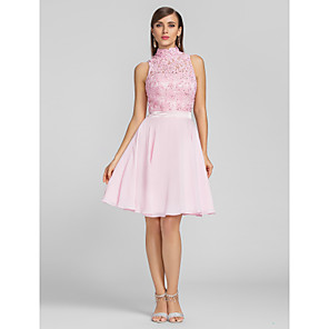 cheap Jewelry Sets-A-Line Hot Pink Homecoming Cocktail Party Dress High Neck Sleeveless Knee Length Chiffon Lace with Sequin Appliques 2020
