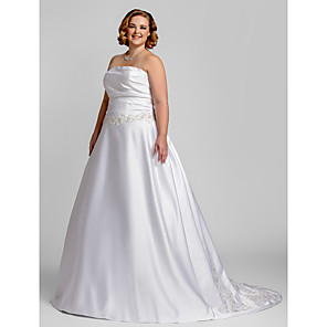 cheap Lolita Dresses-A-Line Wedding Dresses Strapless Court Train Satin Strapless Romantic Illusion Detail with Ruched Beading Appliques 2020