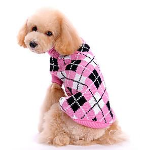 cheap LED Bi-pin Lights-Dog Sweater Plaid / Check Keep Warm Winter Dog Clothes Pink Costume Woolen XS S M L XL