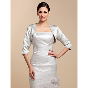 cheap Wedding Wraps-Coats / Jackets Satin Wedding / Party Evening / Casual Wedding  Wraps With Beading / Sequin
