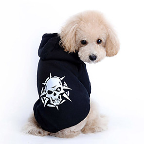 cheap Dog Clothes-Dog Hoodie Skull Fashion Dog Clothes Costume Cotton XS S M L XL