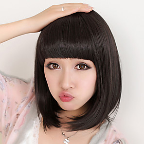 cheap Synthetic Trendy Wigs-Synthetic Wig Straight Straight Bob With Bangs Wig Medium Length Black Synthetic Hair 8 inch Women's Natural Black
