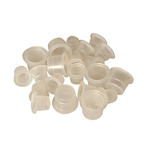 cheap Tattoo Transfers & Supplies-DragonHawk 100pcs Ink Cups Clear White Tattoo Ink Pigment Cups Caps Supply