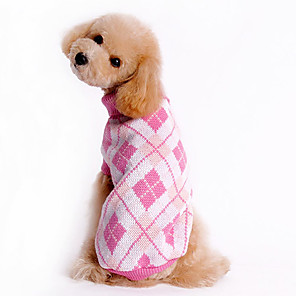 cheap Dog Clothes-Dog Sweater Winter Dog Clothes Blue Pink Costume Woolen Plaid / Check XS S M L XL