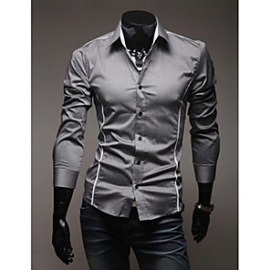 cheap Jewelry Sets-Men's Plus Size Shirt Solid Colored Slim Tops Casual Classic Collar White Black Gray / Spring / Fall / Long Sleeve