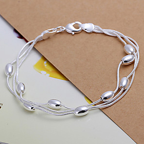 cheap Bracelets-Women's Chain Bracelet Copper Bracelet Jewelry Silver For Christmas Gifts Wedding Party Daily Casual Sports / Silver Plated