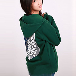 cheap Everyday Cosplay Anime Hoodies & T-Shirts-Inspired by Attack on Titan Mikasa Ackermann Anime Cosplay Costumes Japanese Cosplay Hoodies Print Long Sleeve Coat For Women's